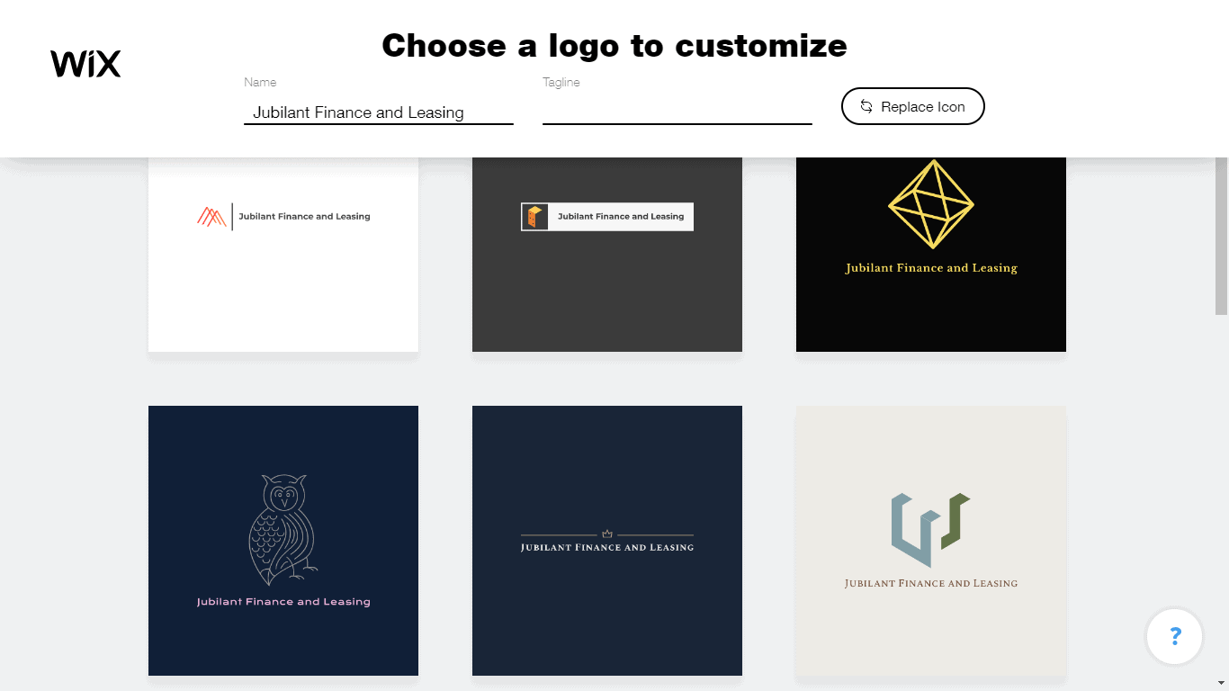 Wix Logo Maker screenshot - logo suggestions
