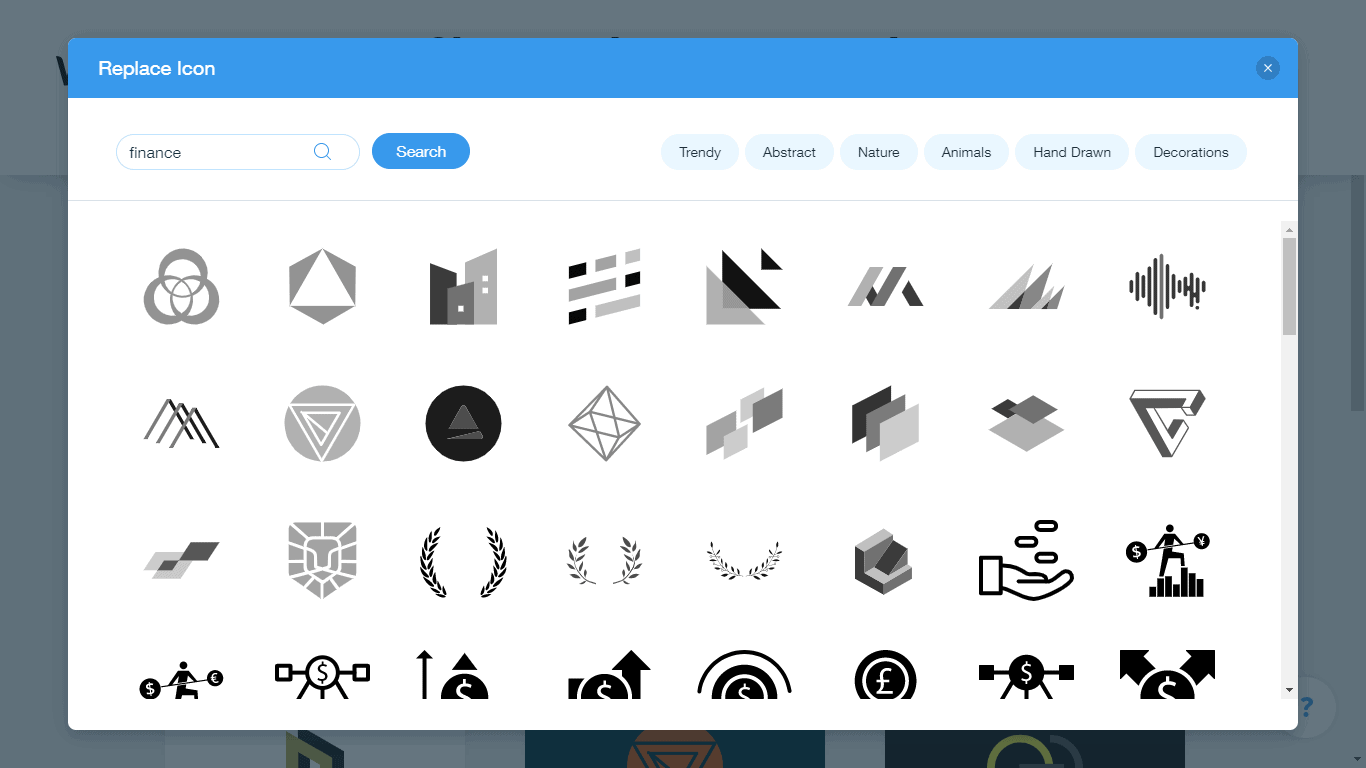 Wix Logo Maker screenshot - finance icons