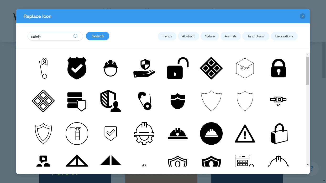 Wix Logo Maker screenshot - safety icons