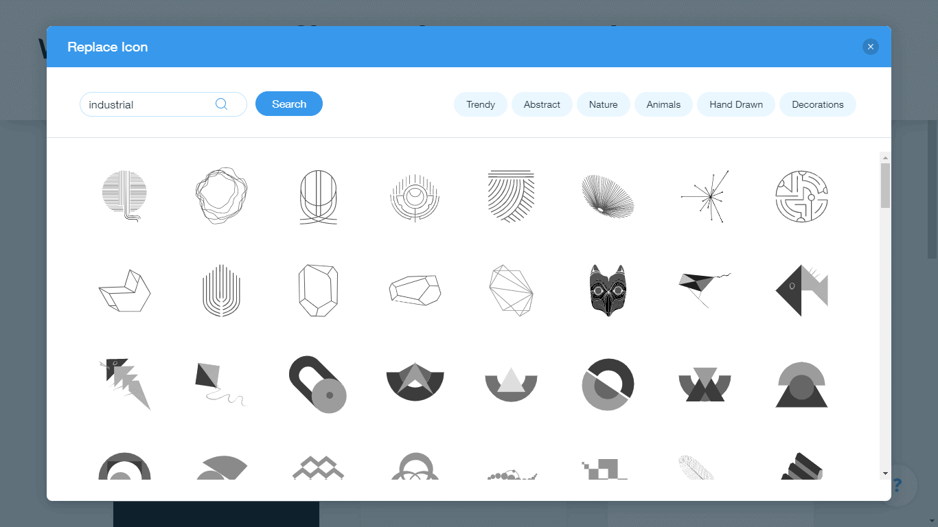 Wix Logo Maker screenshot - industrial icons