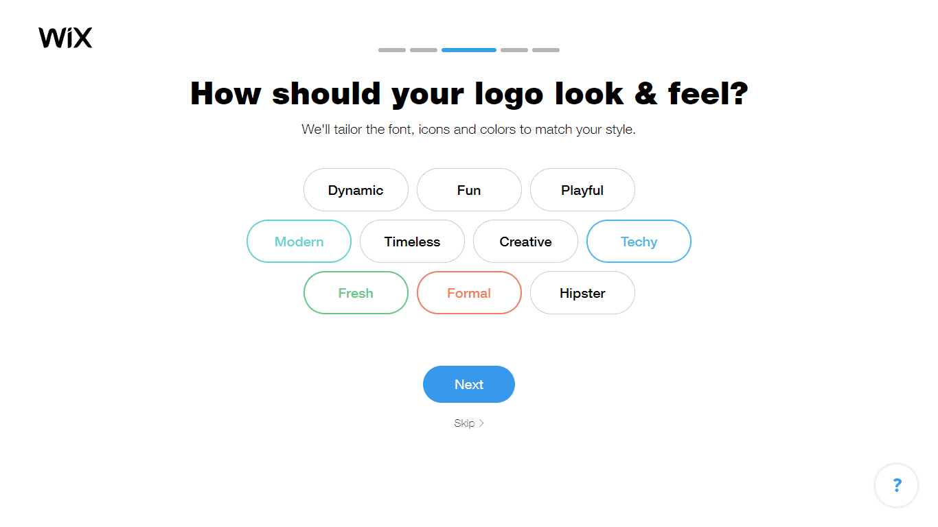 Wix Logo Maker screenshot - look & feel