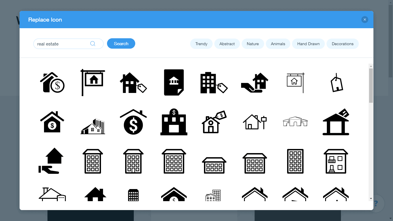 Wix Logo Maker screenshot - real estate icons