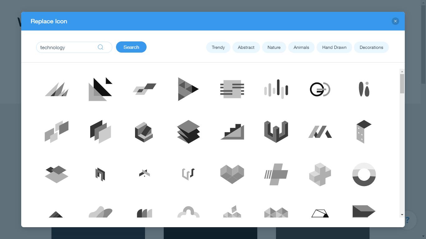 Wix Logo Maker screenshot - technology icons