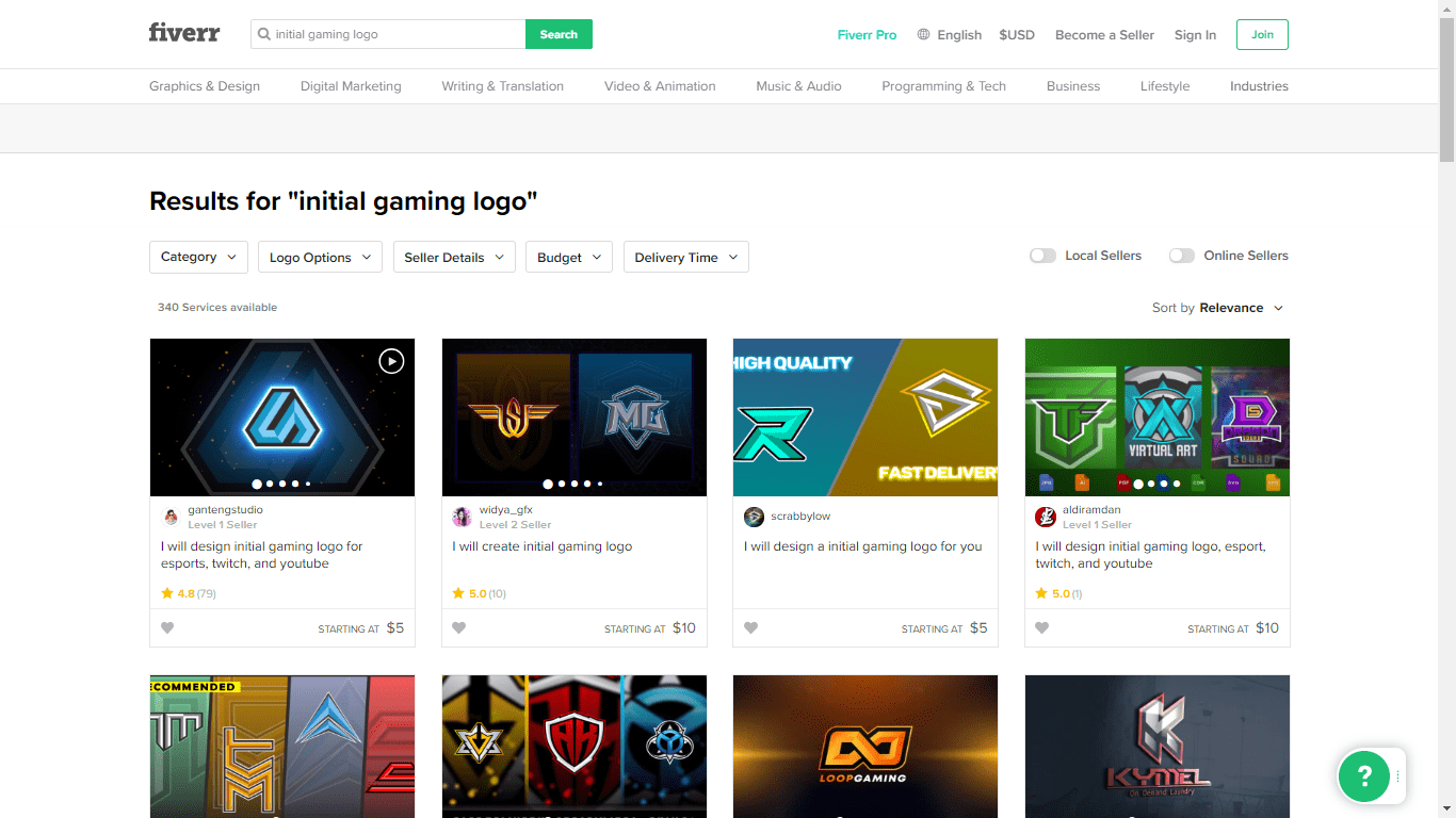 Fiverr screenshot - initial gaming logo designers