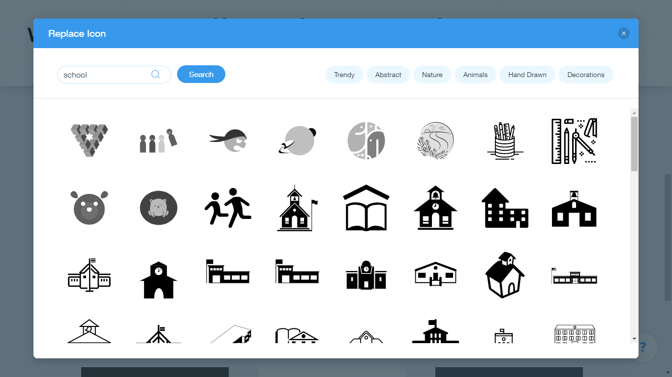 Wix Logo Maker screenshot - school icons