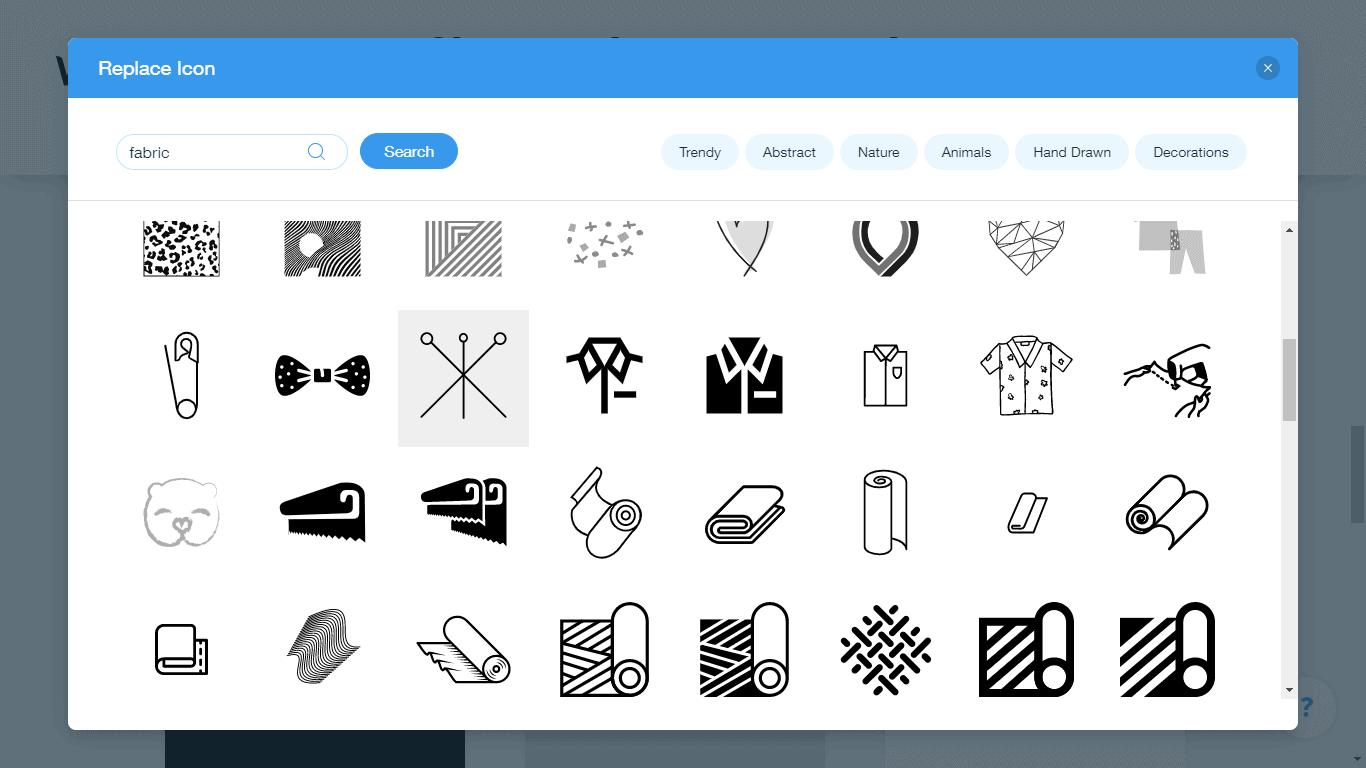 Wix Logo Maker screenshot - fabric icons