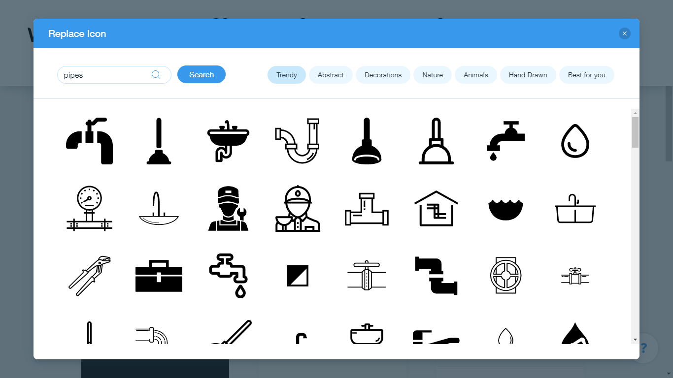 Wix Logo Maker screenshot - pipes icons