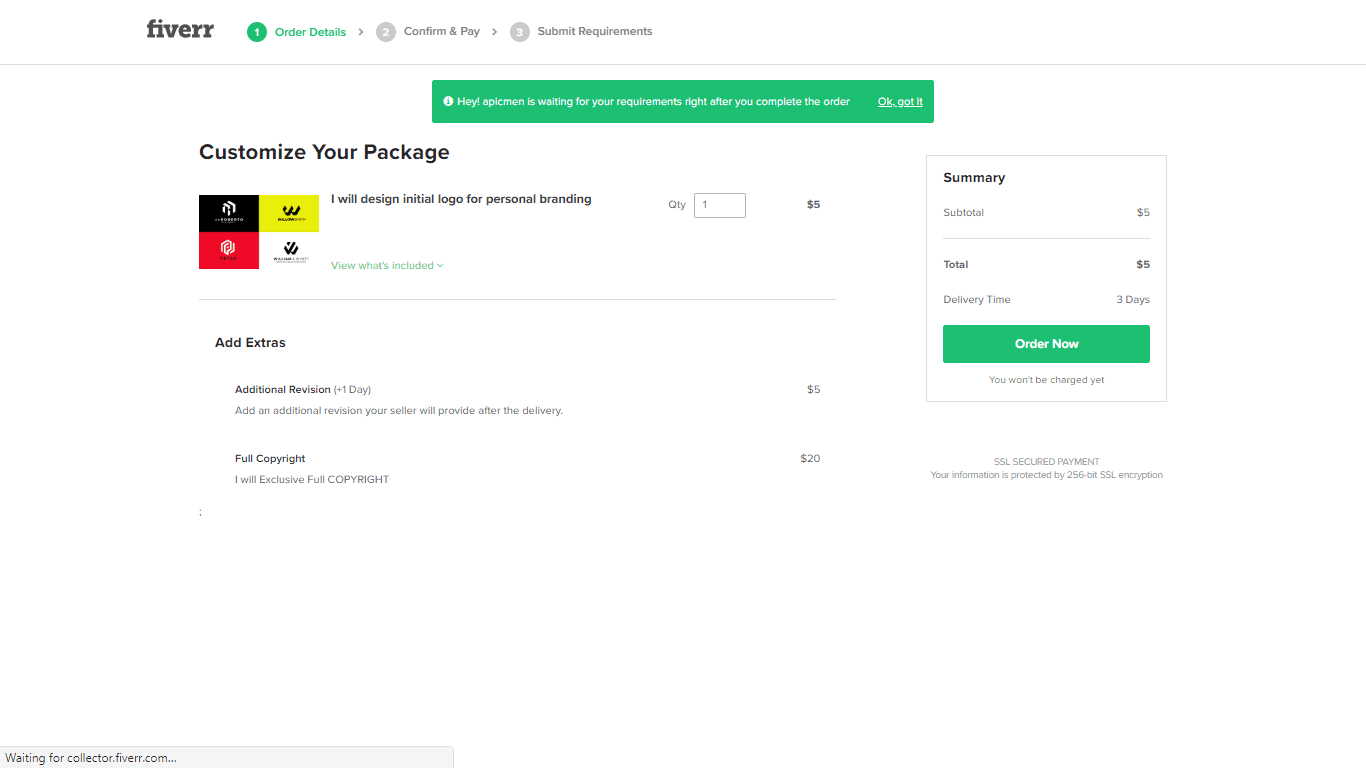 Fiverr screenshot - Customize Your Package