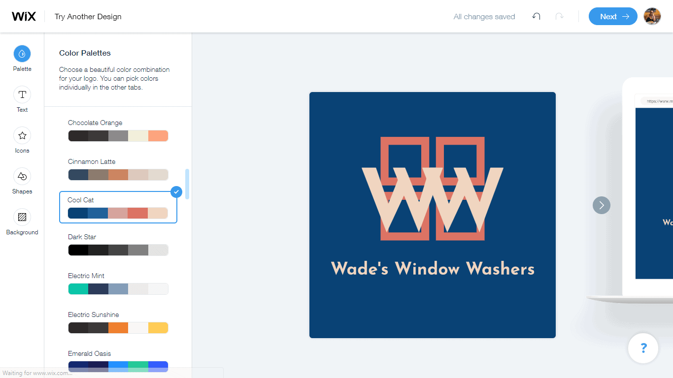 Wix Logo Maker screenshot - logo editor