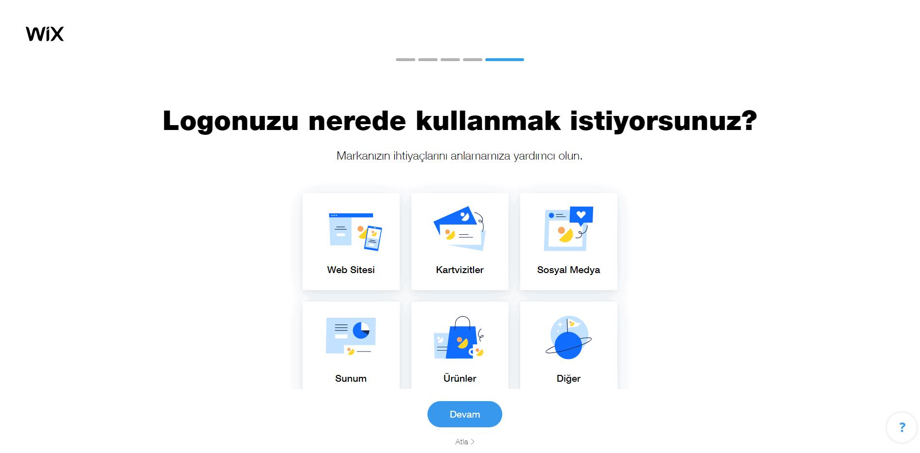Wix Logo Maker screenshot - branding needs