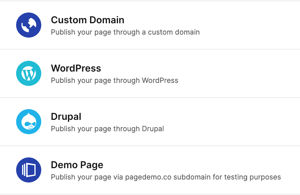 Landing page publishing options - Instapage
