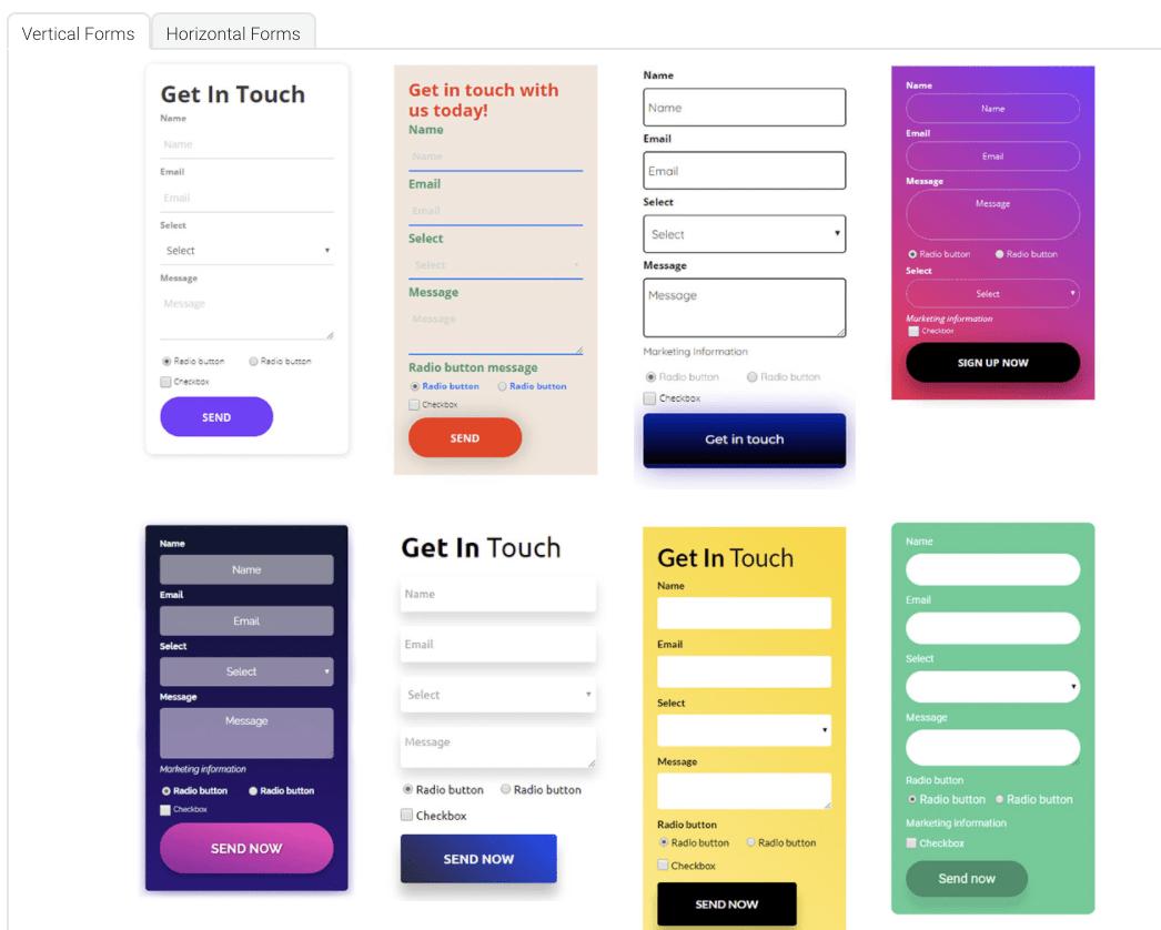Landingi's form template options