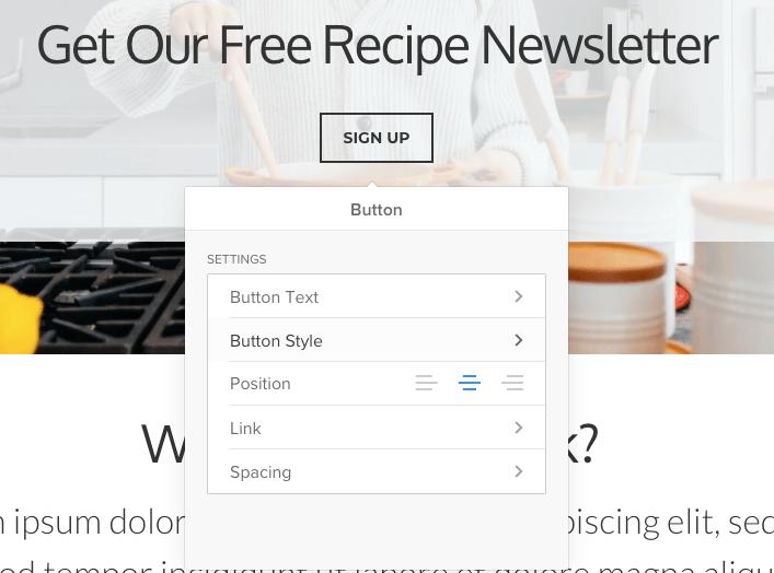 Customization menu in site editor - Weebly