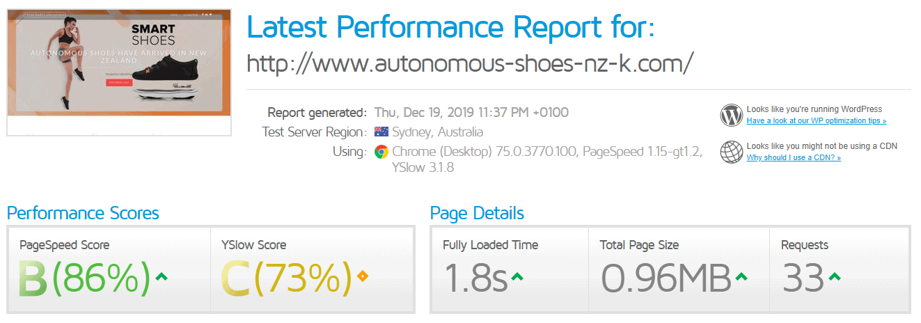 1st Domains - GTMetrix Test Result