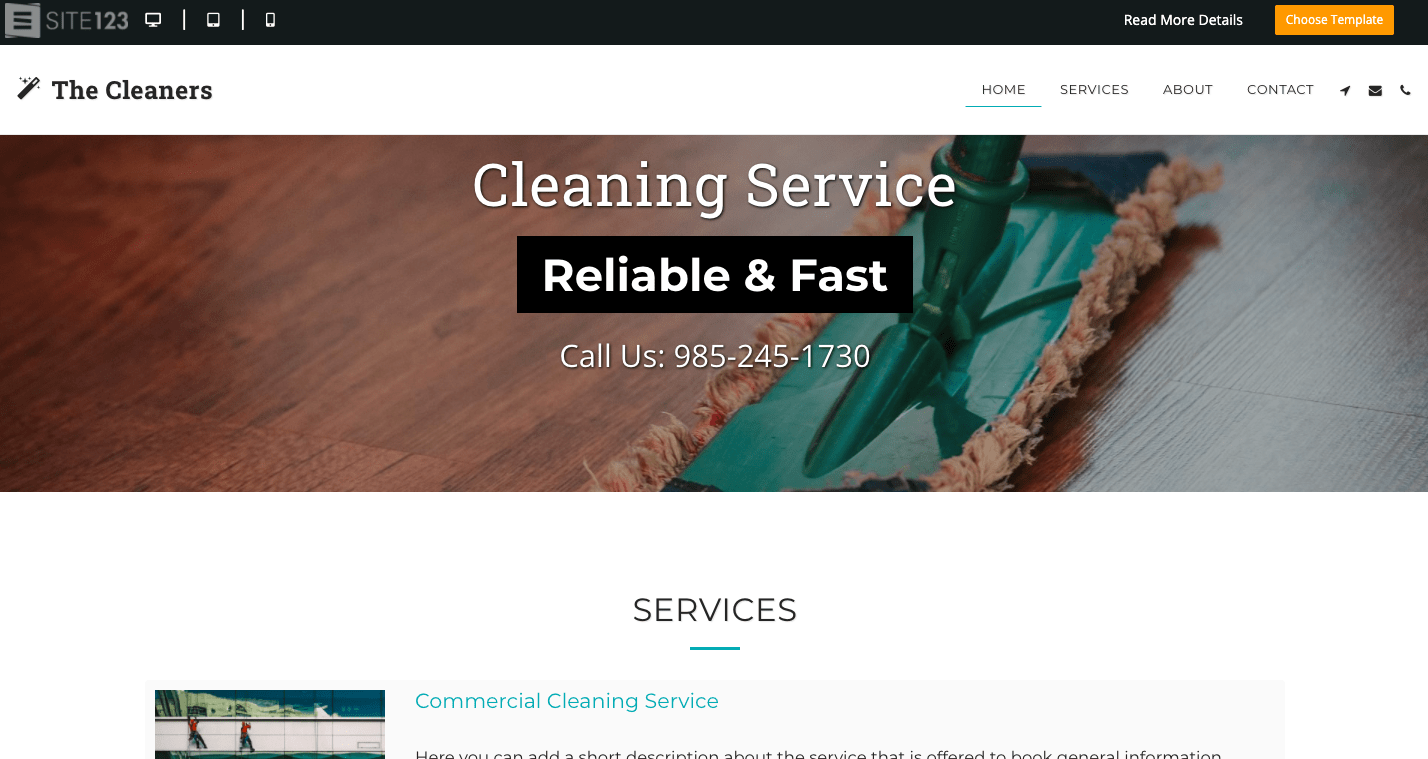 SITE123 Cleaning Service template