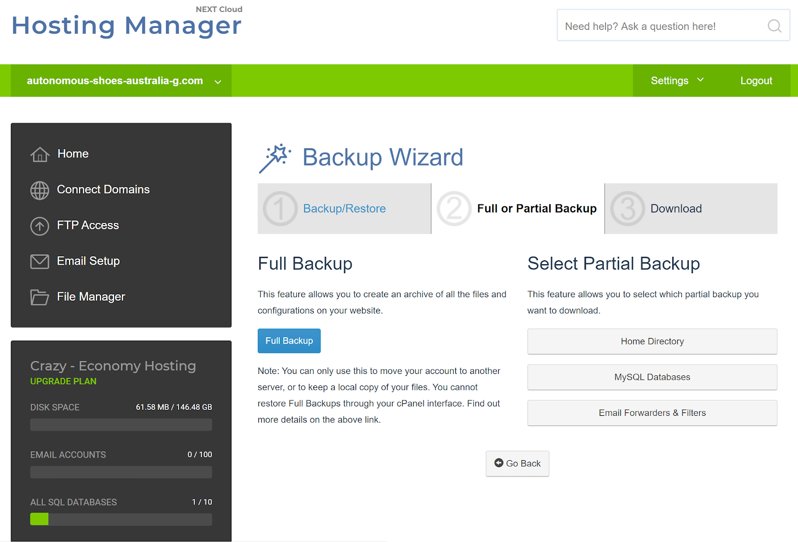 the CrazyDomains backup wizard