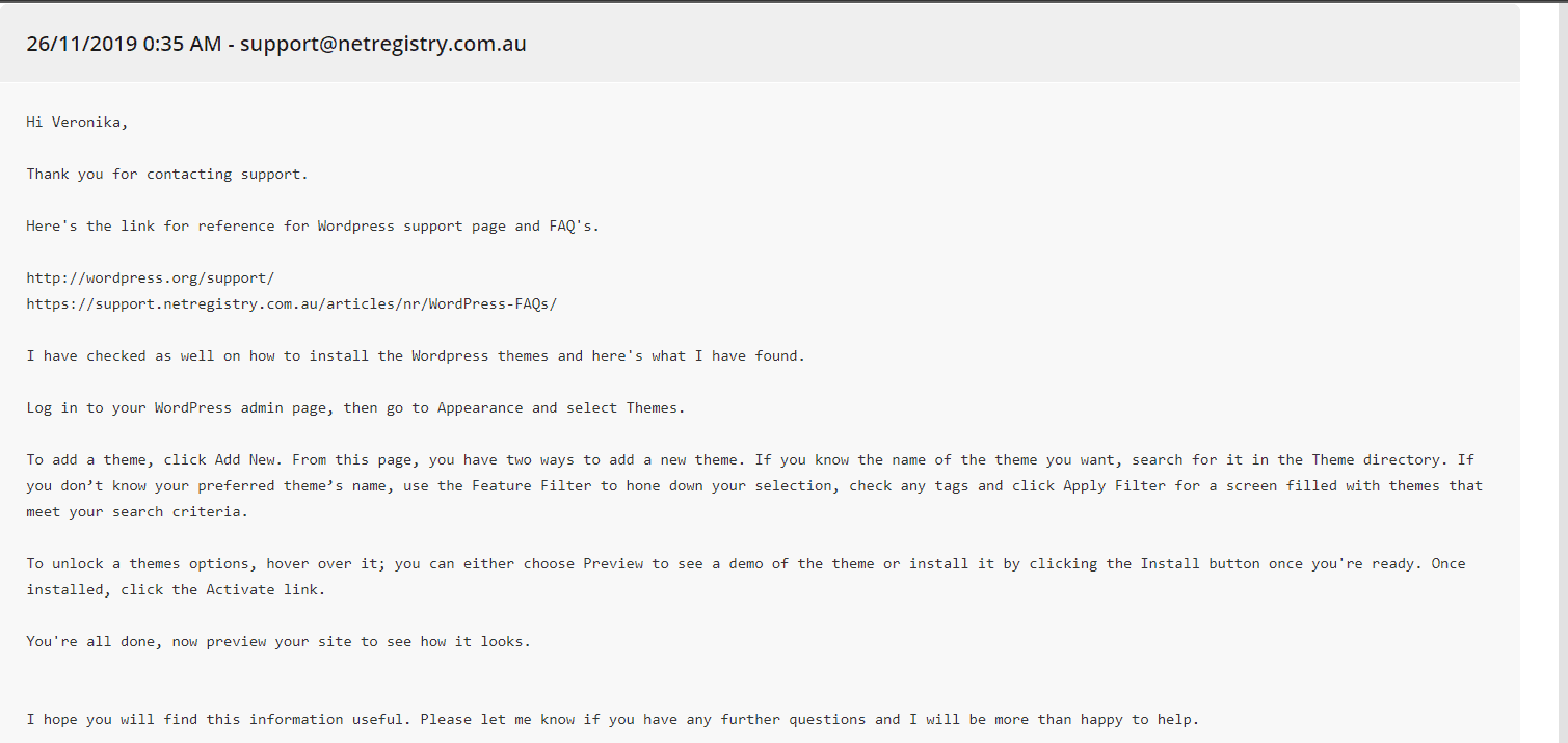 the second ticket email reply
