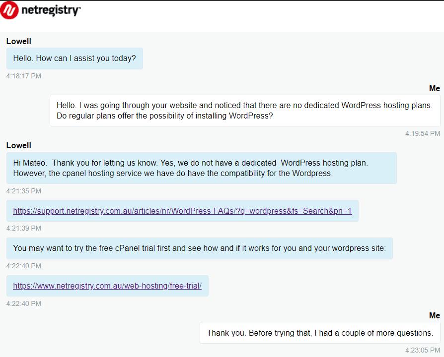Live chat conversation, part 1