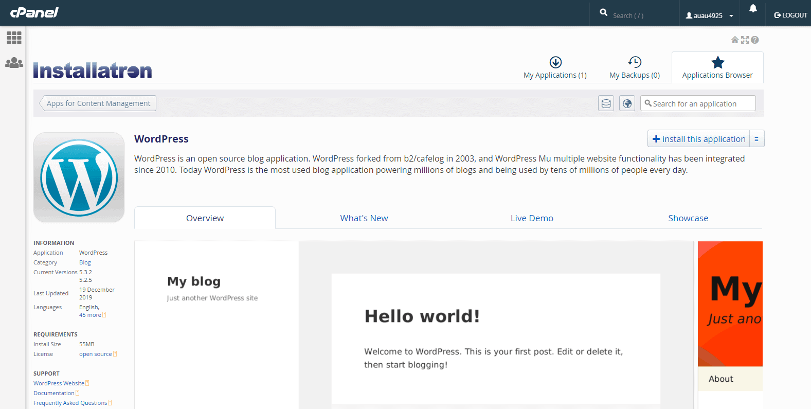The WordPress one-click installer