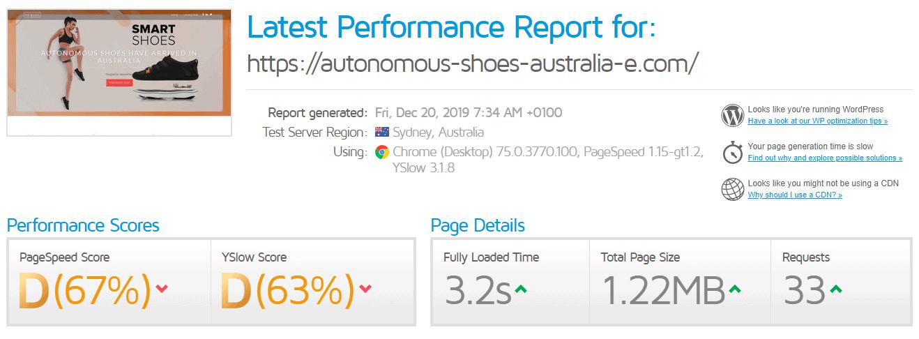 The rather dismal GTMetrix report.