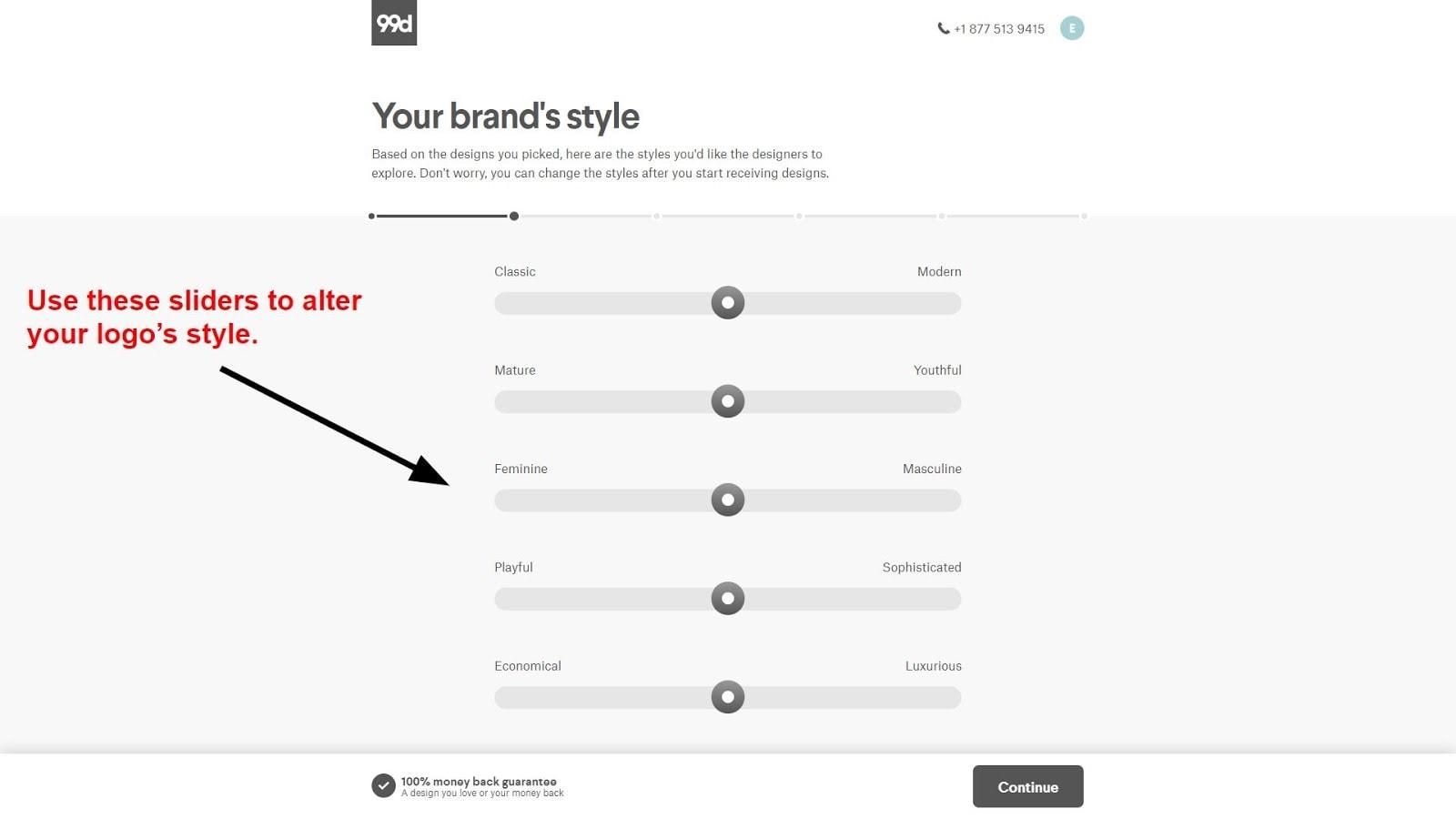 Design style sliders on 99designs