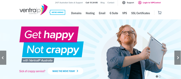 The VentraIP home page