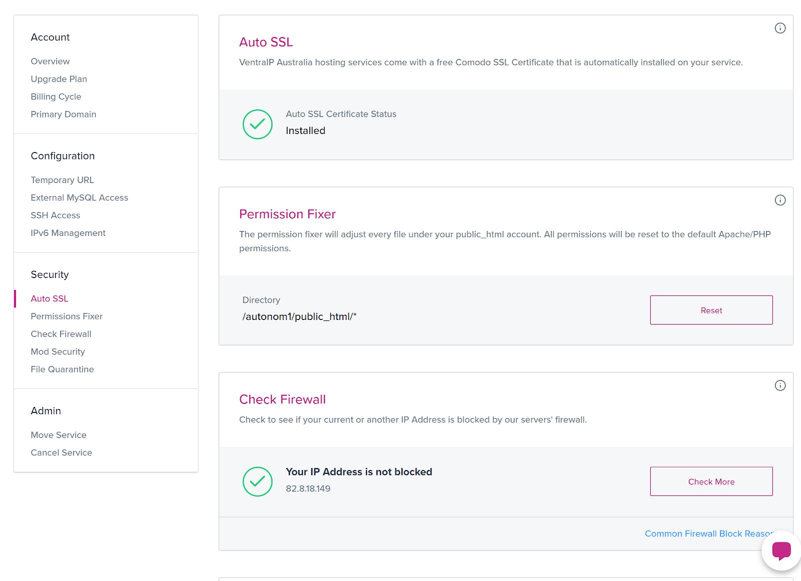 VentraIP's SSL settings page