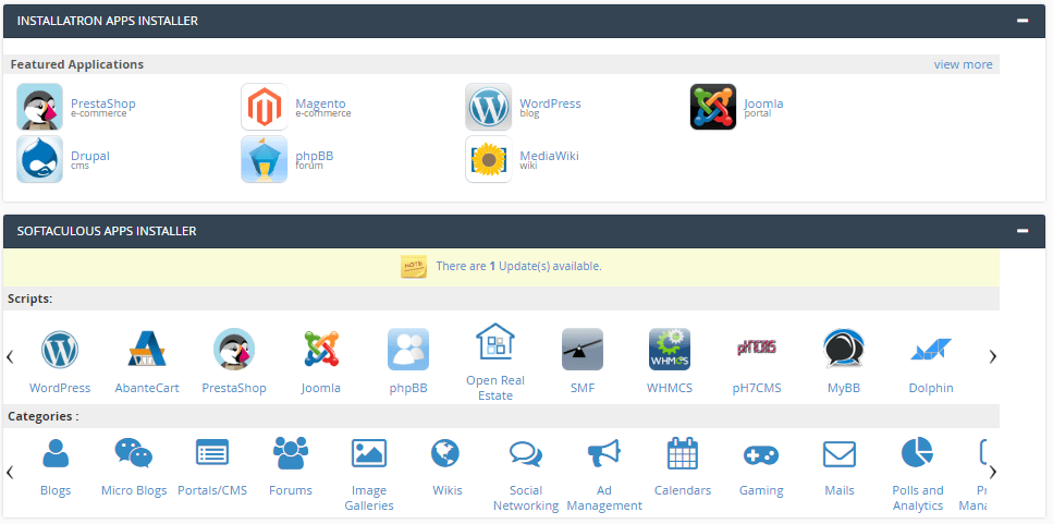 cPanel software installation