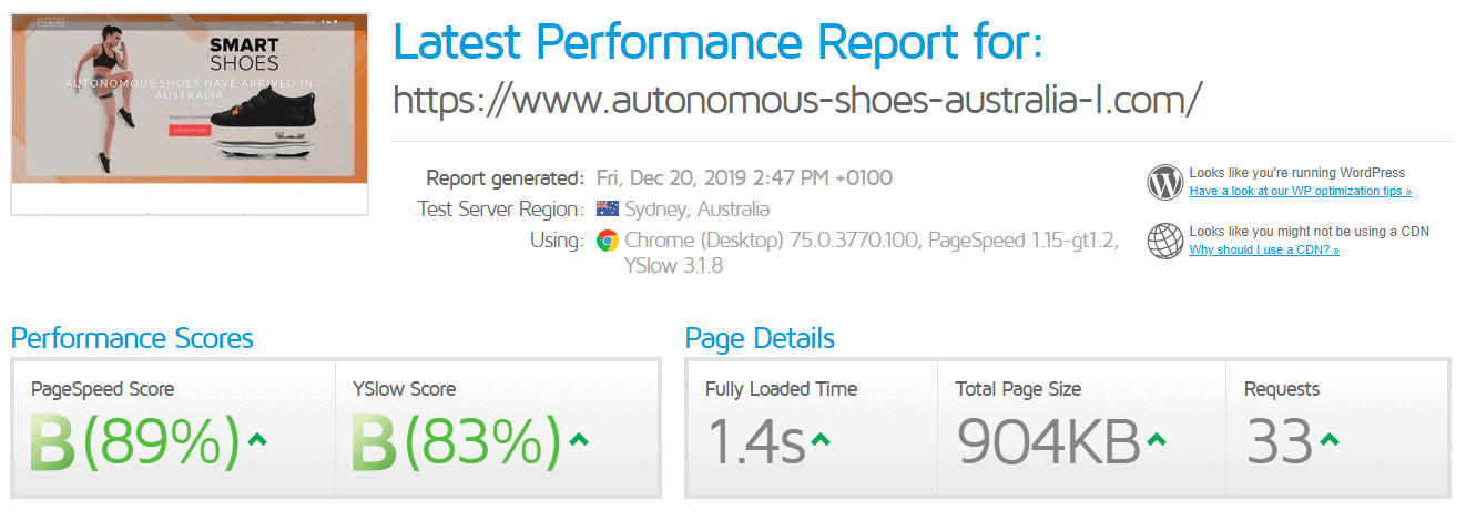 Performance report for a VentraIP site