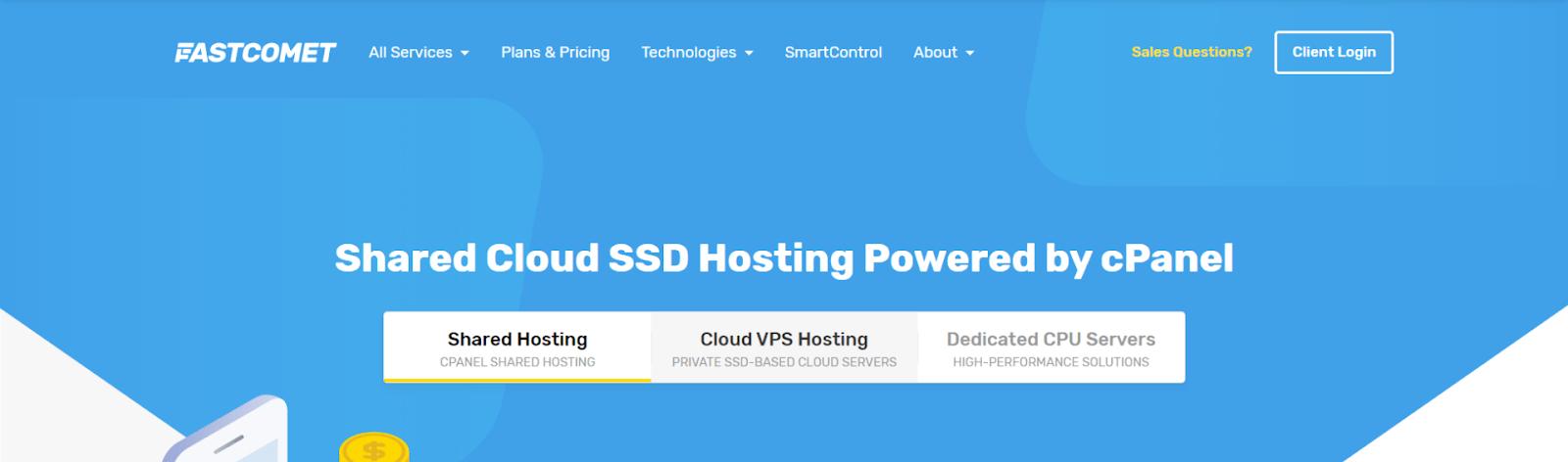FastComet main hosting homepage