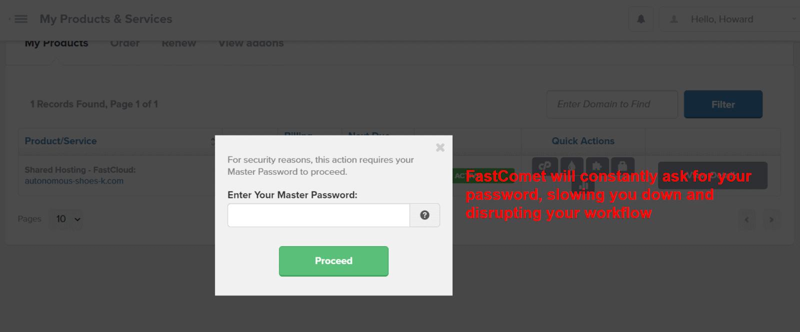 FastComet interface - password verification