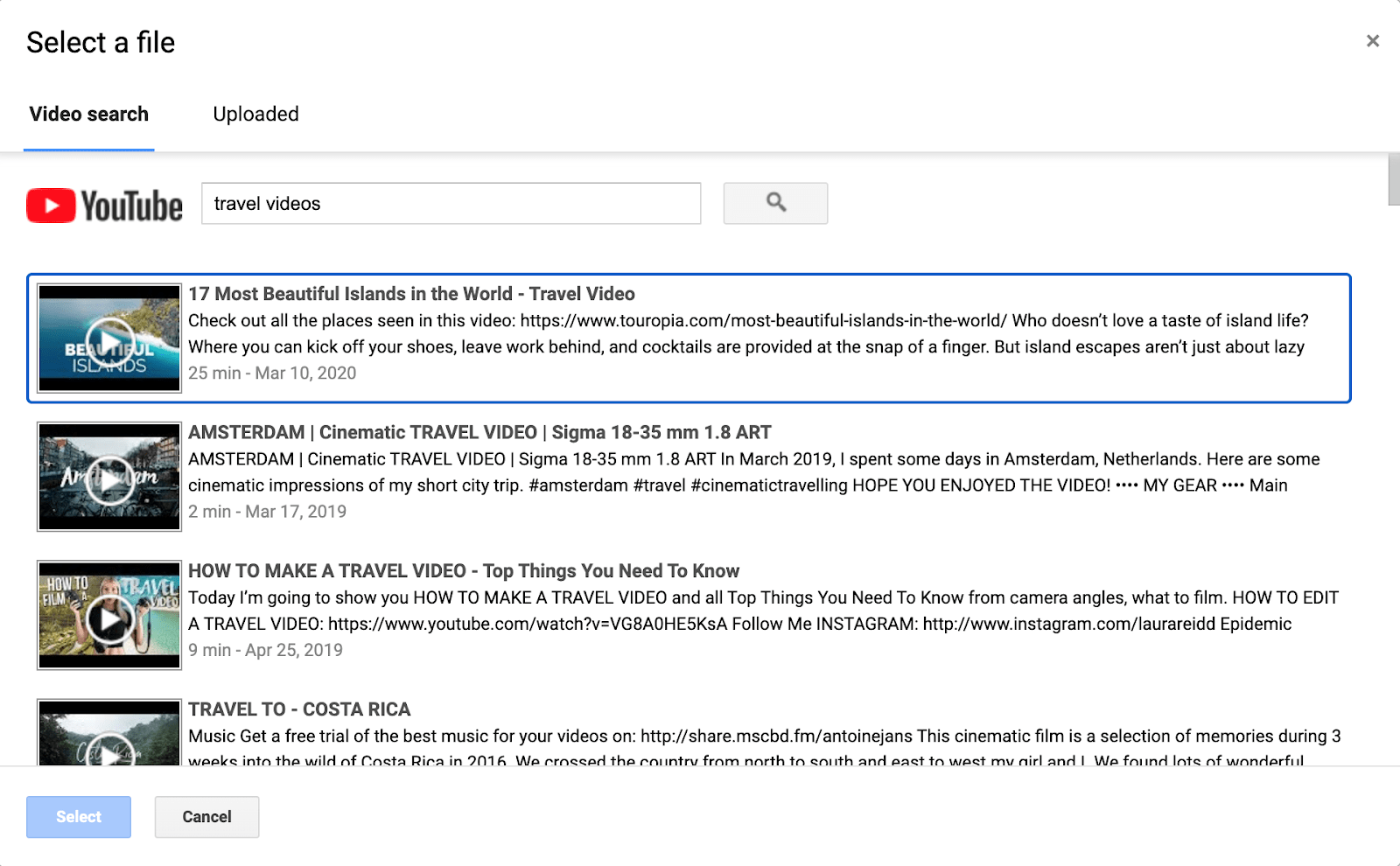 Google Sites built-in YouTube search feature