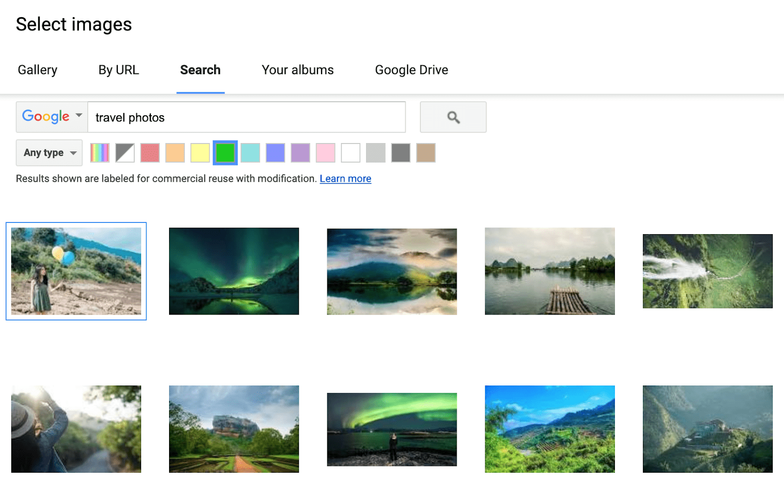 Google Sites built-in image search with color filter