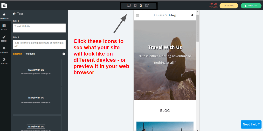 SITE123 website editor - mobile device view