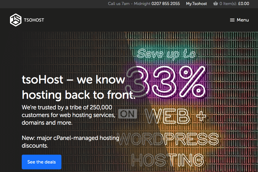 tsoHost offers affordable web hosting