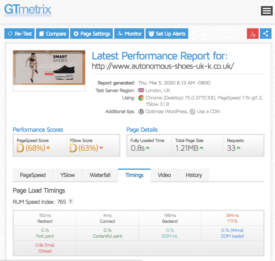 The landing page I used to test tsoHost's performance