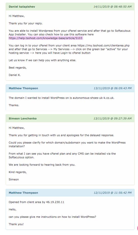Support Ticket exchange with tsoHost regarding WordPress