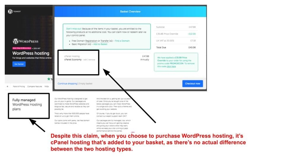 "tsoHost's ""managed WordPress hosting"" is actually just cPanel hosting"