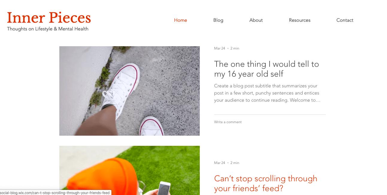Wix Blog Template