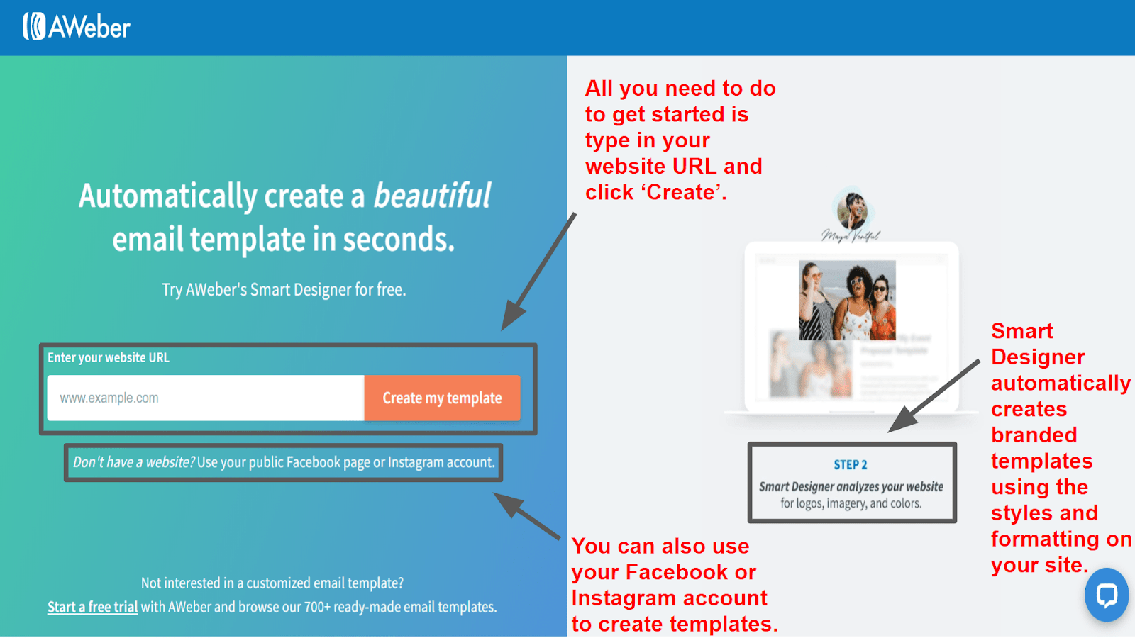 The AWeber Smart Designer for creating customized templates.