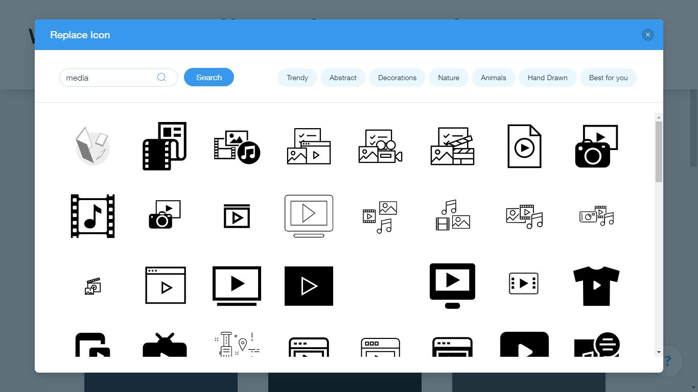 Wix Logo Maker screenshot - media icons