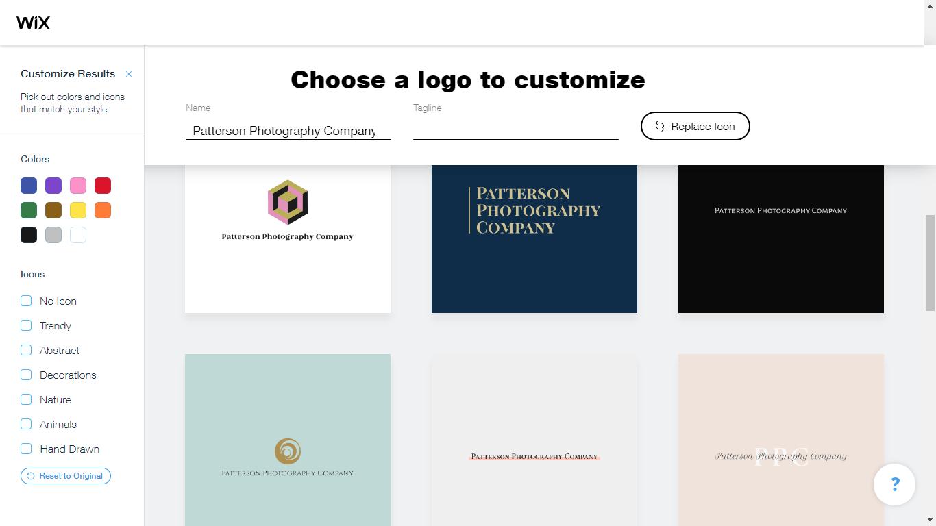 Wix Logo Maker screenshot - customize results