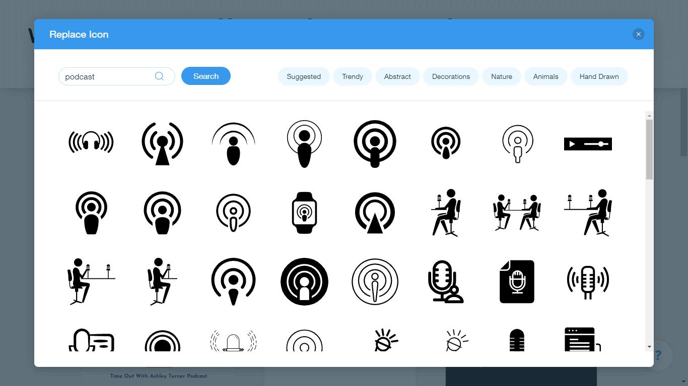 Wix Logo Maker screenshot - podcast icons