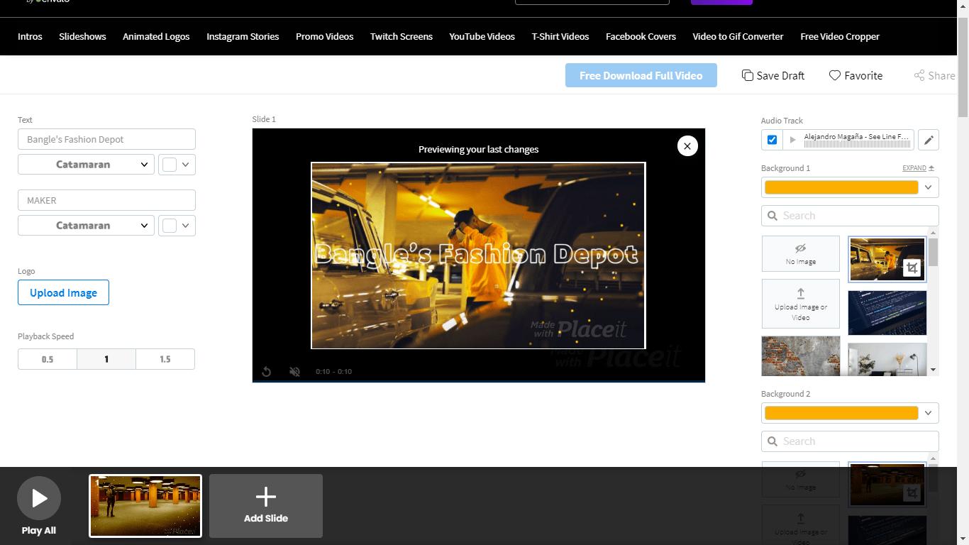 PlaceIt screenshot - video editor