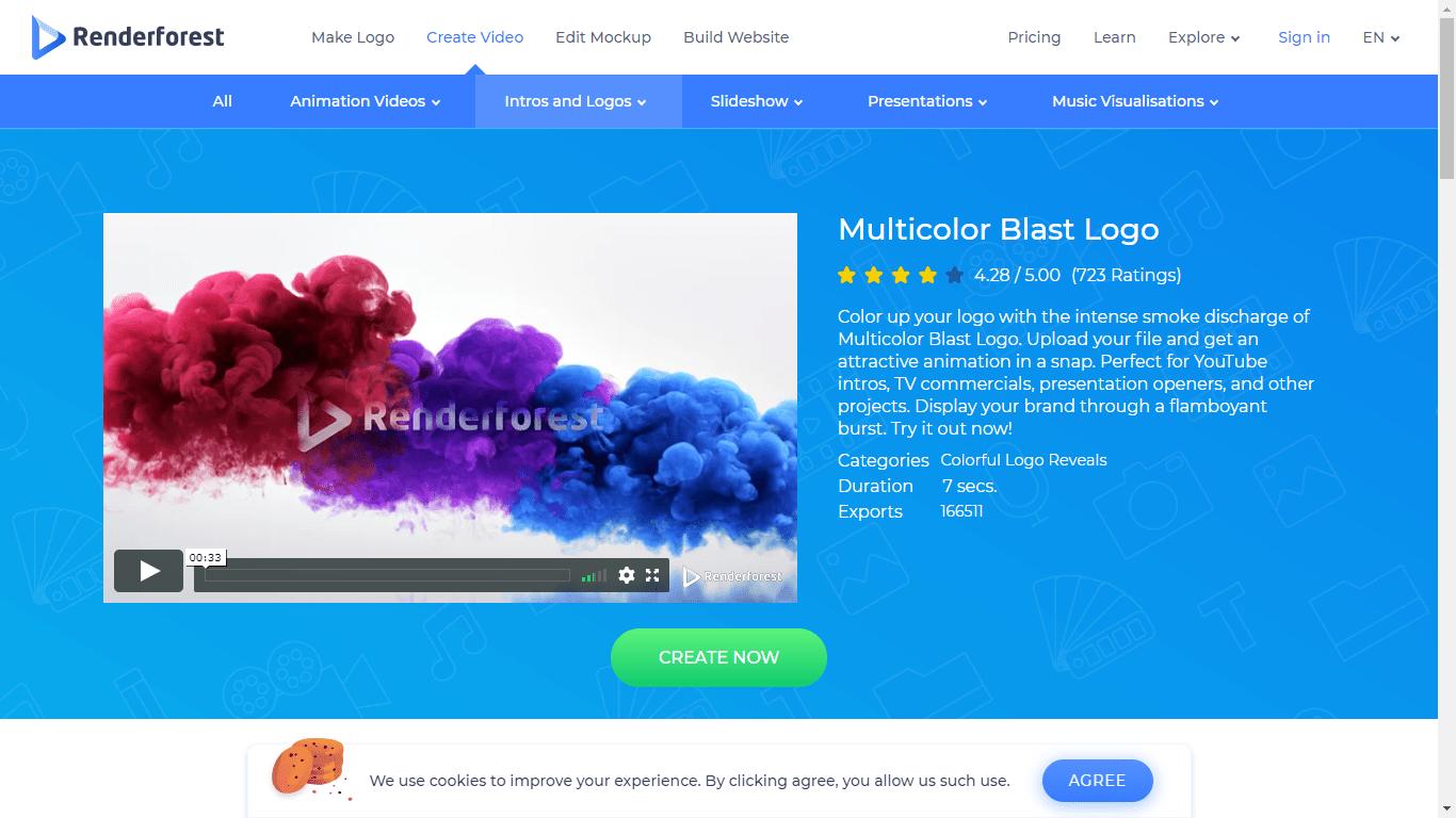 Renderforest screenshot - Multicolor blast logo