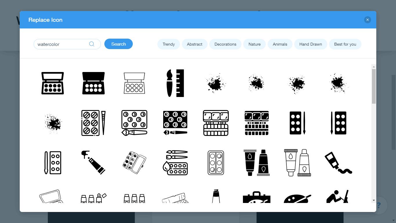 Wix Logo Maker screenshot - watercolor icons