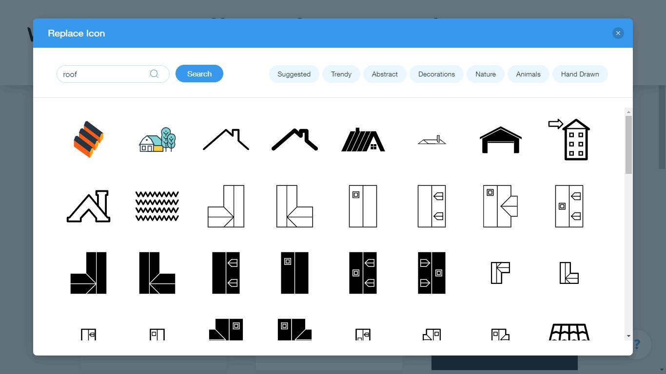 Wix Logo Maker screenshot - roof icons