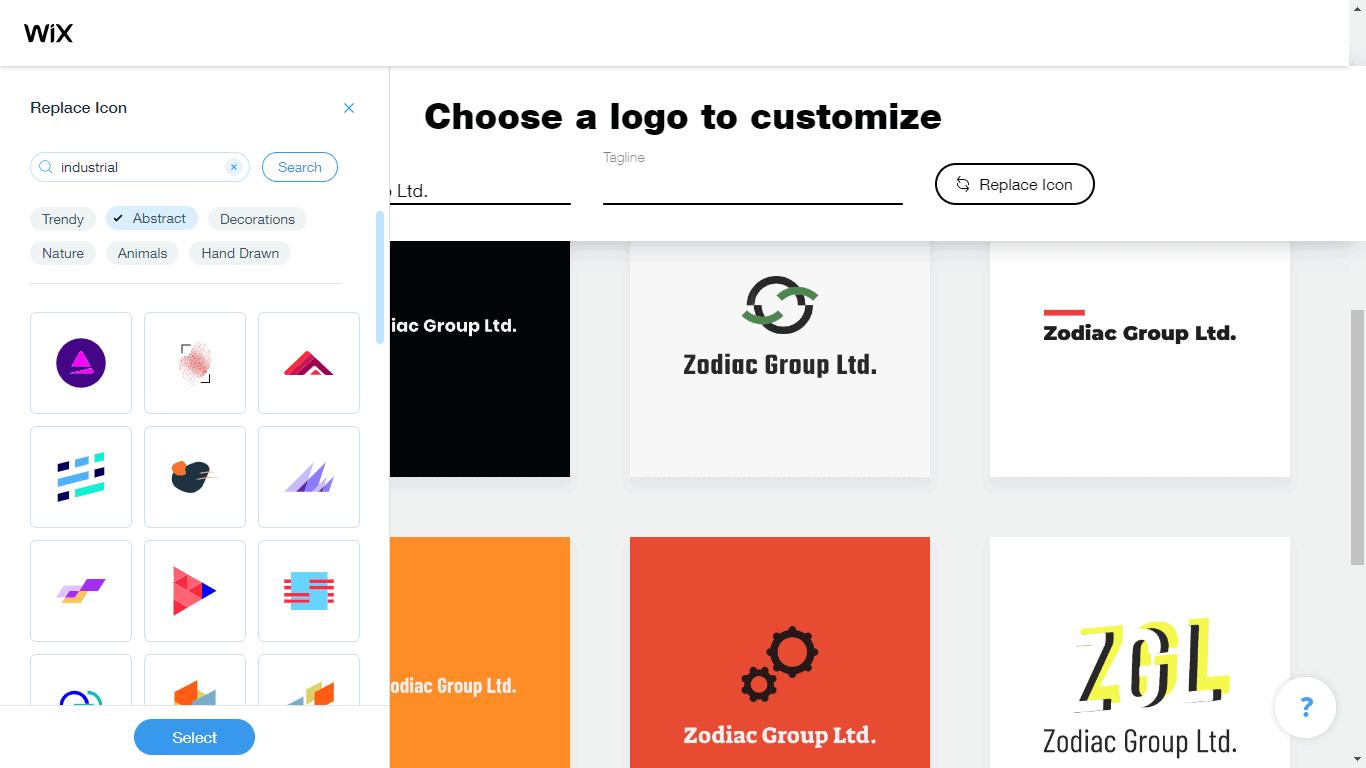 Wix Logo Maker screenshot - industrial icons