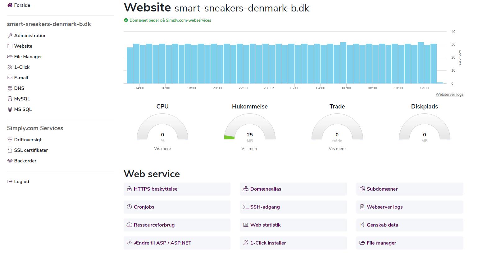 Simply.com – Hurtigt overblik over ressourcer