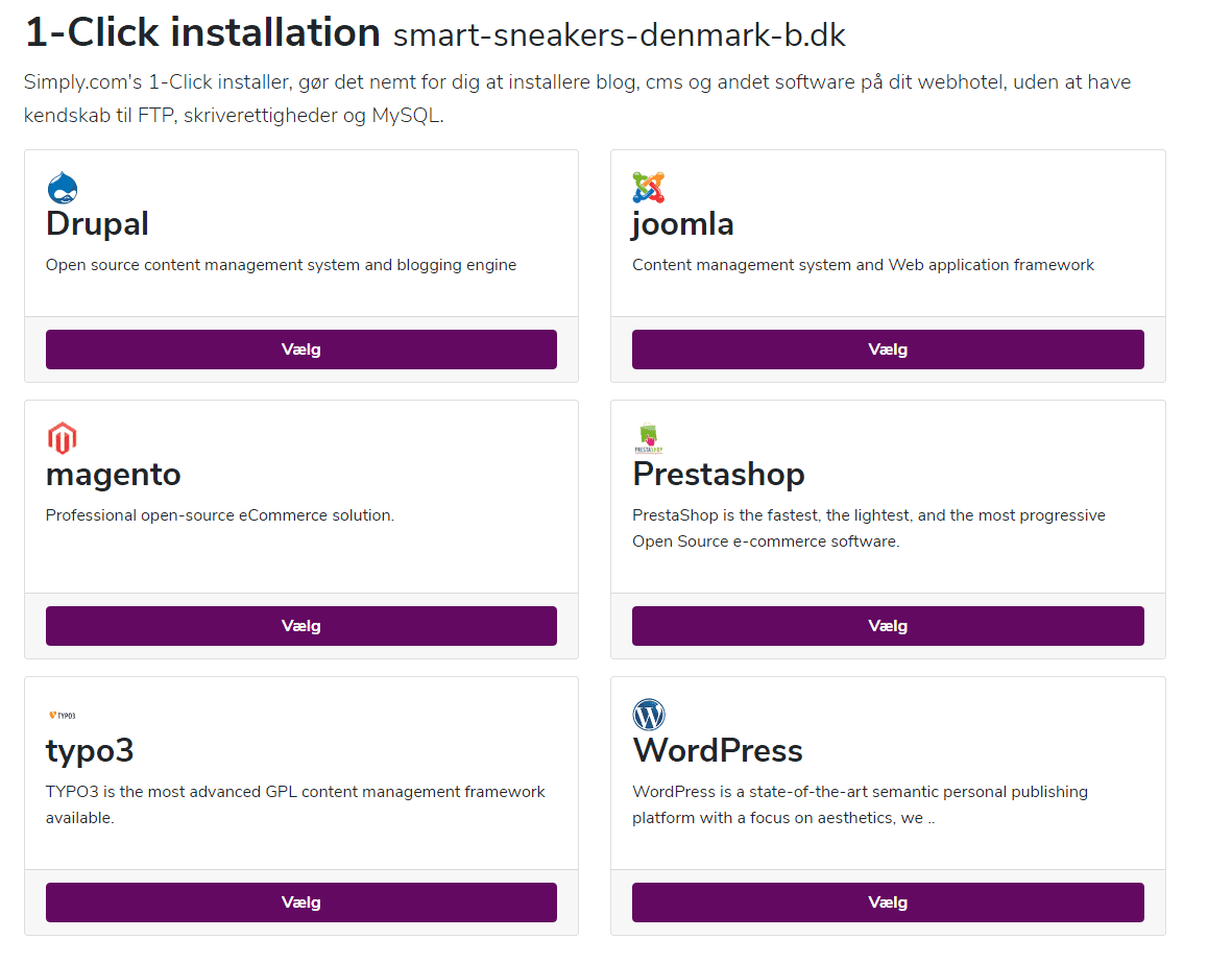 Simply.com – Hurtig installation af CMS